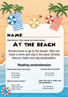Interactive worksheet At the beach reading comprehension