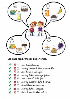 Interactive worksheet Likes and dislikes with food