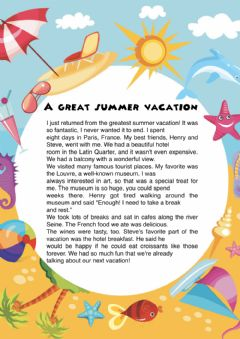 Interactive worksheet A great summer vacation reading comprehension