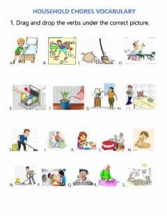 Ficha interactiva Household chores vocabulary