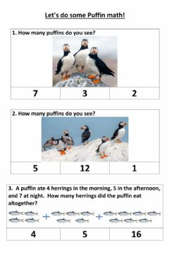 Interactive worksheet Puffin math