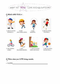 Interactive worksheet What do you like doing outside?