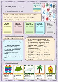 Interactive worksheet Holiday time