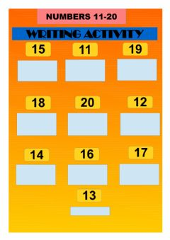 Interactive worksheet Numbers 11 to 20