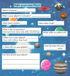 Interactive worksheet Make your own Planet