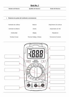 Interactive worksheet Partes del Multímetro B