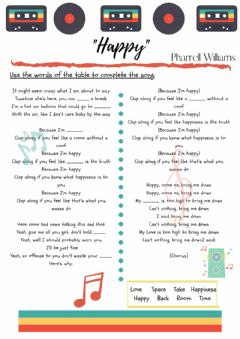 Interactive worksheet Song - -Happy-