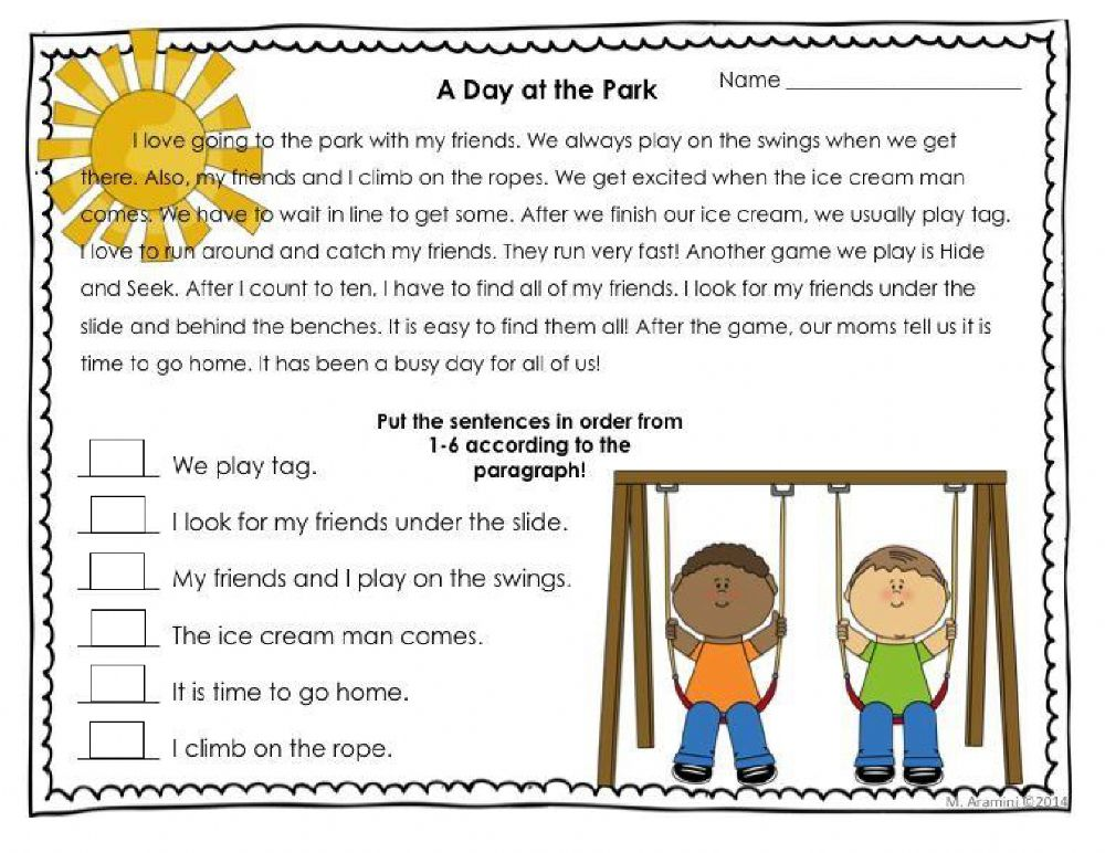 Sequencing Events Interactive Worksheet