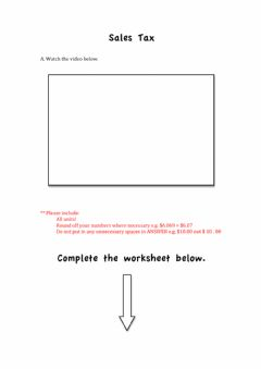 Interactive worksheet Calculating Total Cost after Sales Tax