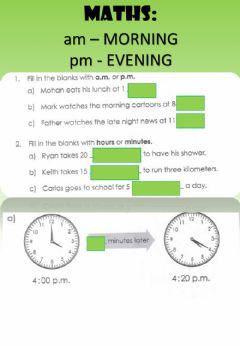 Interactive worksheet WEEK 18: THURSDAY: Telling Time (AM-PM)