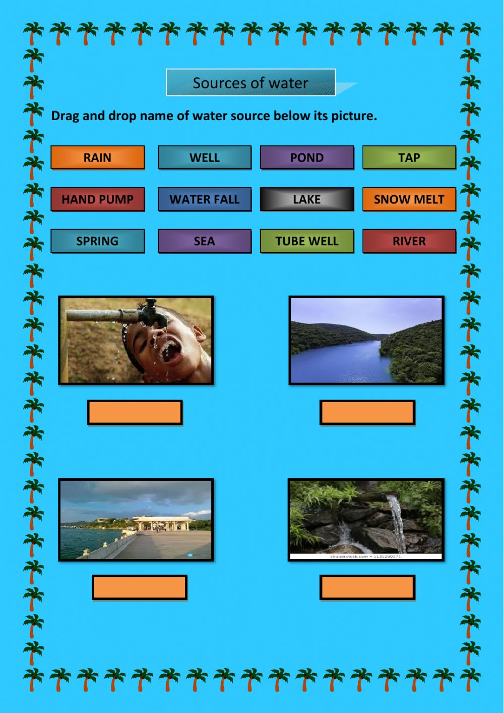 Sources Of Water Interactive Worksheet
