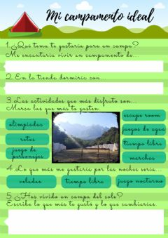 Interactive worksheet Mi campamento ideal.