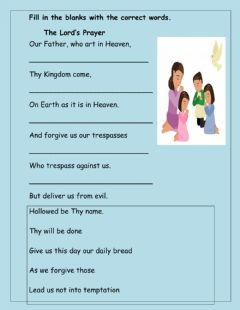 Interactive worksheet The Lord's Prayer