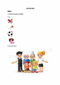 Interactive worksheet Famility and toys