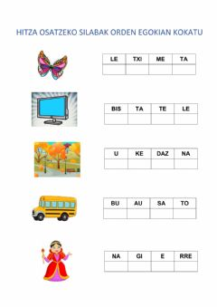 Interactive worksheet Silabak ordenatu