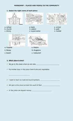 Interactive worksheet Places and community