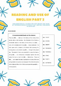 Ficha interactiva Reading and Use of english Part 3 CAE