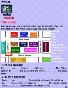 Interactive worksheet Around Town: Writing directions