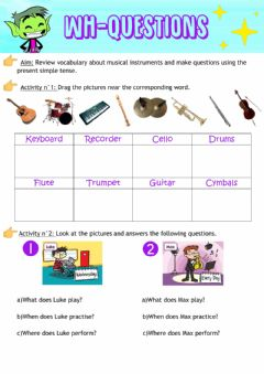 Ficha interactiva Wh-questions and musical instruments