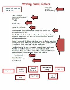 Interactive worksheet Formal letters