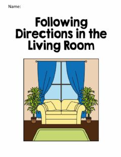 Interactive worksheet Following directions in the living room