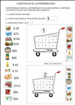 Interactive worksheet De compras al supermercado