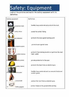 Ficha interactiva Safety equipment