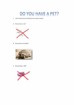 Interactive worksheet DO YOU HAVE A PET?
