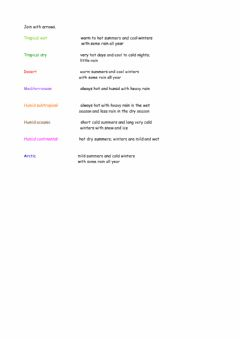 Interactive worksheet Climates 1 (join with arrows)