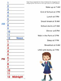 Interactive worksheet Maya's Schedule