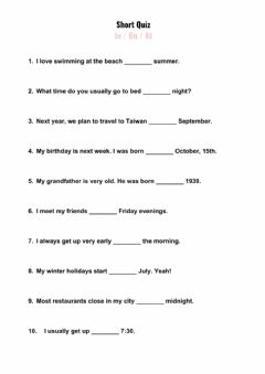 Interactive worksheet Prepositions: in-on-at