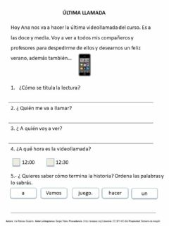 Interactive worksheet Última llamada