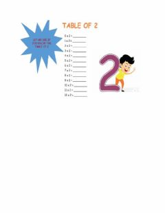 Interactive worksheet 2 times table