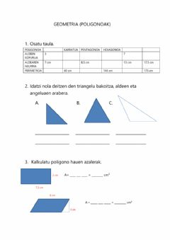 Interactive worksheet Geometria