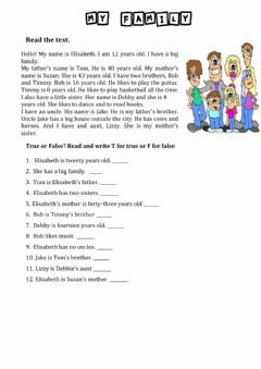 Interactive worksheet Family - Reading Activity