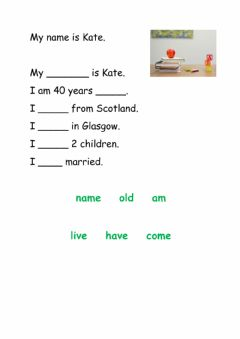 Interactive worksheet My name is Kate