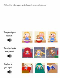 Interactive worksheet Goldilocks and the three bears - Select