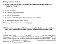 Interactive worksheet Meeting business contacts