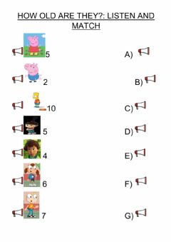 Interactive worksheet How old are they?