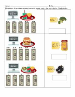 Interactive worksheet Dollar Up 3