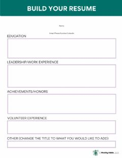 Interactive worksheet Wealthy Habits Build Your Resume
