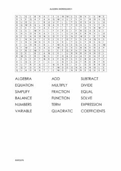 Ficha interactiva Algebra wordsearch