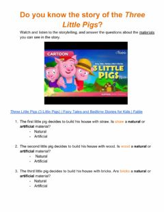 Ficha interactiva Materials - Three Little Pigs