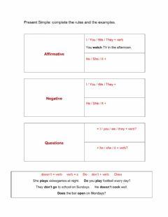 Interactive worksheet Complete the rules for Present Simple
