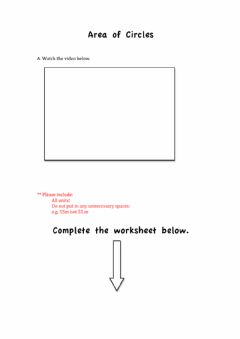 Interactive worksheet Finding the Area of a Circle