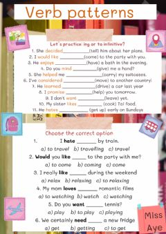 Interactive worksheet Verb patterns