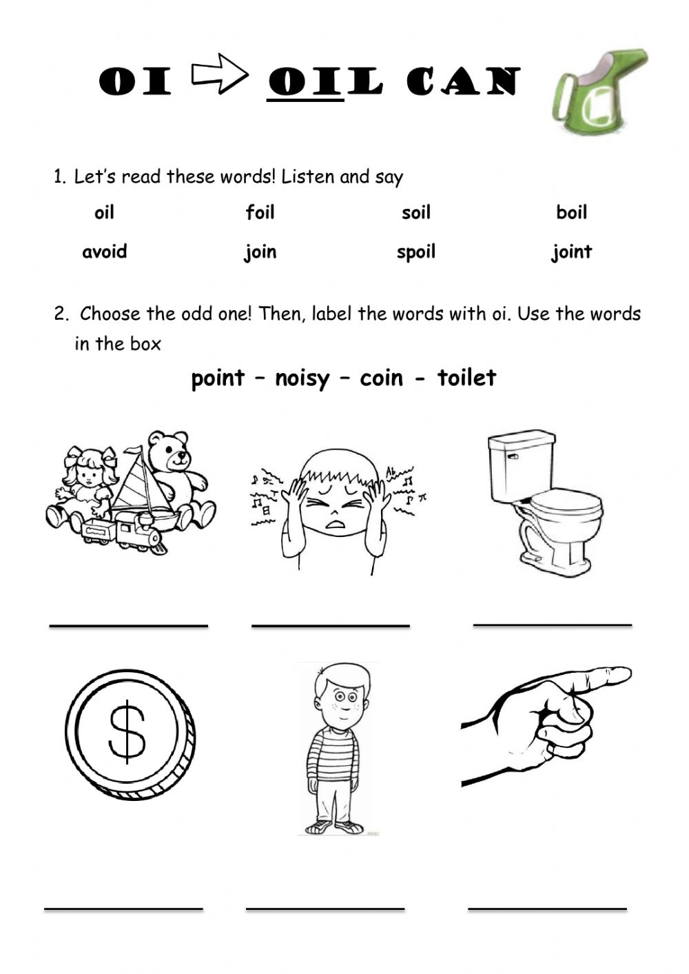 Oi As In Oil Can Worksheet