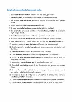 Interactive worksheet Smettere smetterla