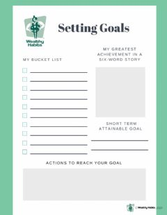 Interactive worksheet Wealthy Habits Setting Goals and Business Plan