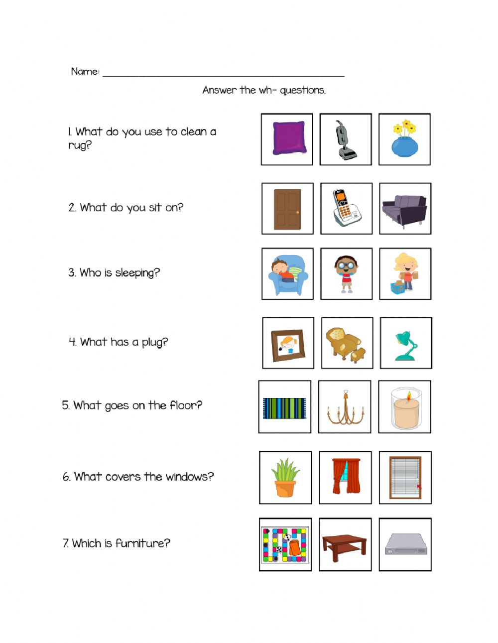 Living Room Answer Wh- Questions worksheet